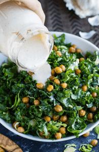 Crispy Chickpea and Kale Caesar Salad