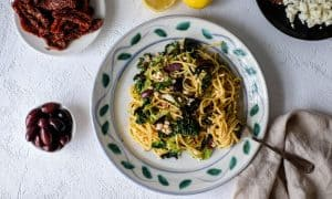 Linguine with Savoy Cabbage, Olives and Feta
