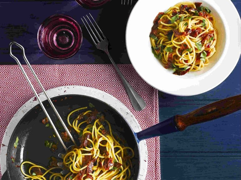 Pasta with Crisp Chorizo, Olive Oil and Parsley