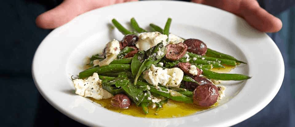Green beans, Fried Olives, Goat's Cheese and Basil