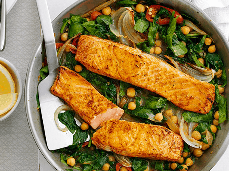 Indian Salmon with Chickpea Stew
