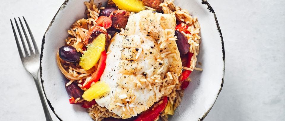 Roast Monkfish with Chorizo, Sherry and Rice