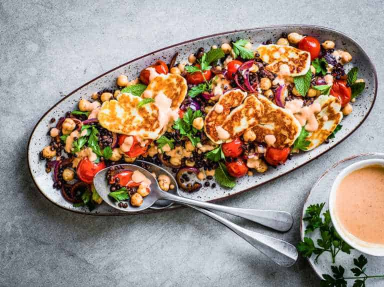 Spiced Lentil and Chickpea Salad with Halloumi
