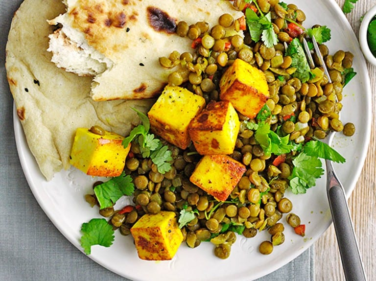Spiced Paneer with Chilli Green Lentils