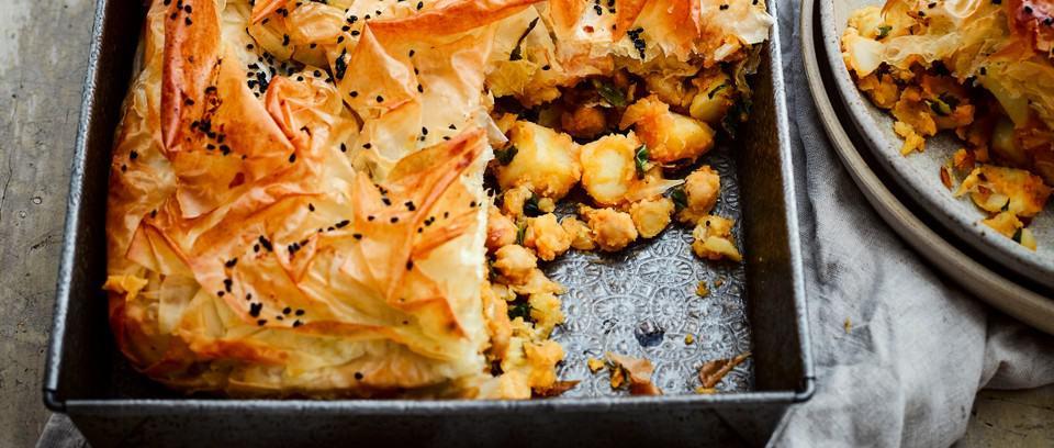 Spicy Chickpea, Potato and Filo Slice