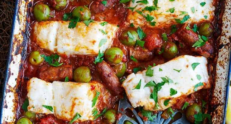 Spicy Merguez and Cod Tray Roast
