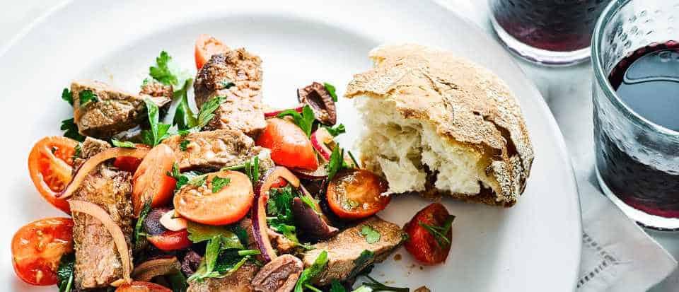 Steak, Tomato and Olive Salad