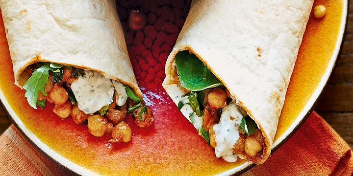 Warm Chickpea and Cumin Wraps with Yoghurt Dip