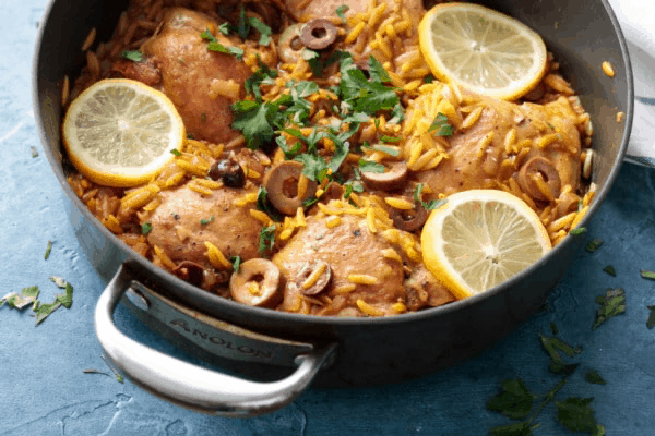 Chicken Tray Bake with Lemon, Olives and Orzo