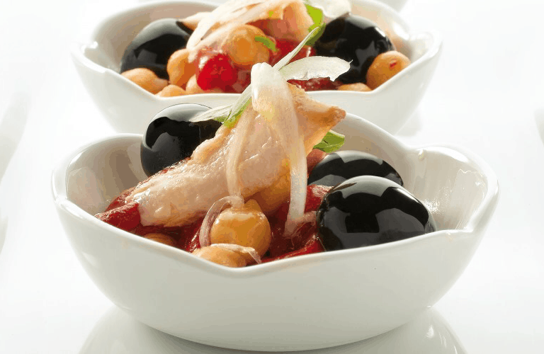 Chickpea Salad with Roasted Peppers, Tuna and Olives