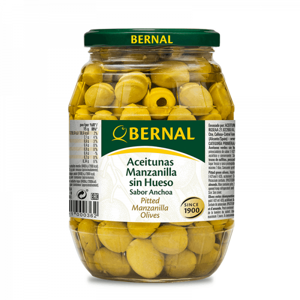 Pitted Manzanilla Olives Anchovy Flavour 310g